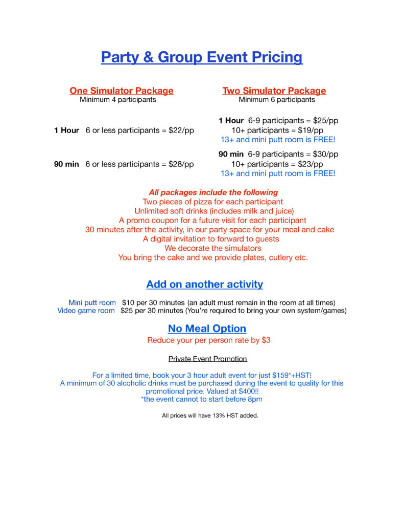 Golf League Welland Niagara Party and group event pricing
